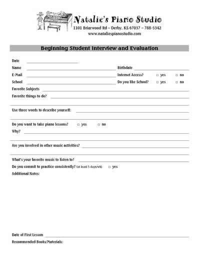 Student Interview Forms